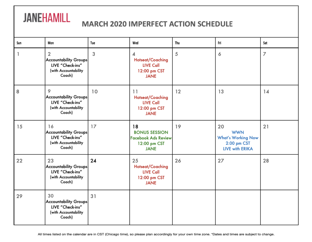 March Calendar for Imperfect Action