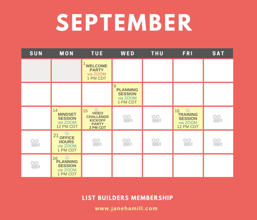 September Schedule imn the List Builders Membership
